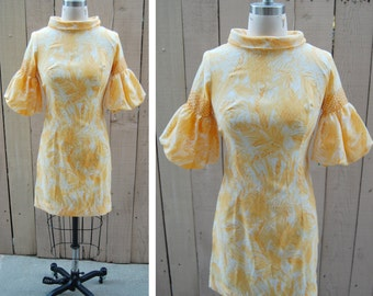 1970s Puff Sleeve Yellow Vintage Mod Dress - Size Extra Small