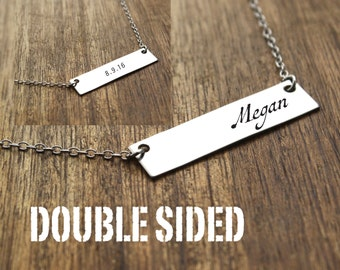 Double Sided Personalized Bar Necklace Double Sided Necklace Custom Bar Necklace Dainty Necklace Bar Jewelry Custom Bar Necklace