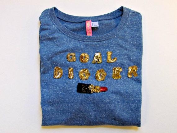 SALE - GOAL DIGGER red lipstick emoji sequined gray blue three quarter long sleeve crew neck comf sweatshirt