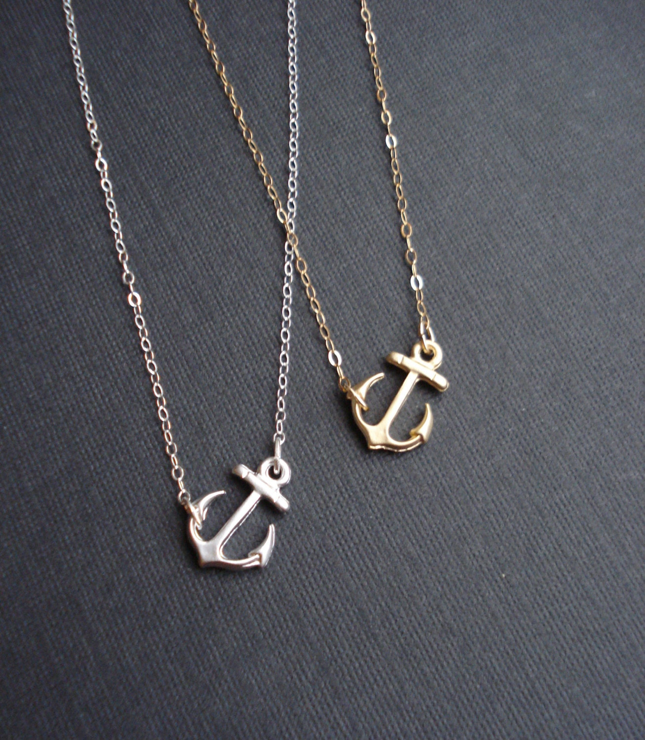 minimalist silver necklace choose your pendant anchor clover