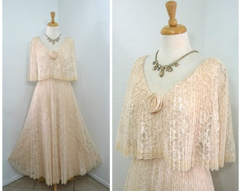 1960s Lace Dress Accordion Pleated Blash Peach Chantilly Lace Cape Wedding gown S