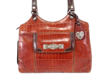 Vintage bag Brown Leather Brighton design MC Silver heart charm Satchel Shoulder Bag