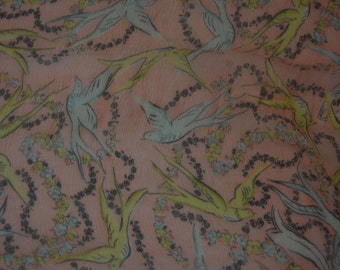 1940's early 50's Baar and Beards Pure Silk Scarf of Birds in Flight. Rare Top Hit Fashions
