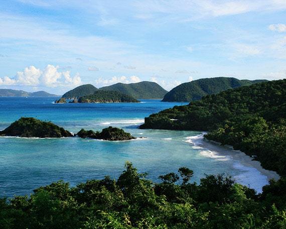 "Caribbean Beach ""Trunk Bay"" Photograph, Affordable Landscape Print. US Virgin Island National Park."
