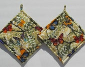 Colorful Multi-Colored Spring Butterfly Pot Holders Set of Two