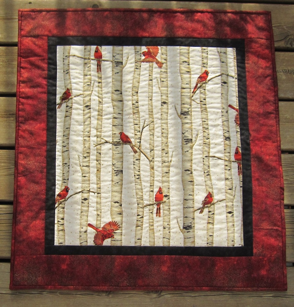 Red Cardinal And White Birch Wall Quilt