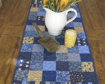 Shades of Blue Patchwork Table Runner