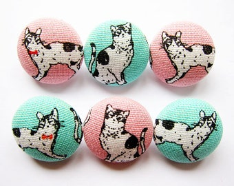 Cat Buttons Sewing Buttons / Fabric Buttons - Black and White Cats on Pink and Mint - 6 Medium Fabric Buttons Set
