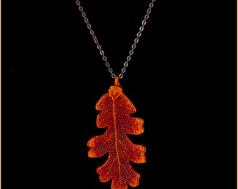 Real Oak Leaf Dipped In Iridescent Copper Pendant With Pewter Chain - Real Dipped Leaf - In Gift Box