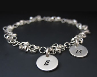 Sterling Silver Initial Charm Bracelet // Personalized hand stamped // Gifts for her // Mother's bracelet