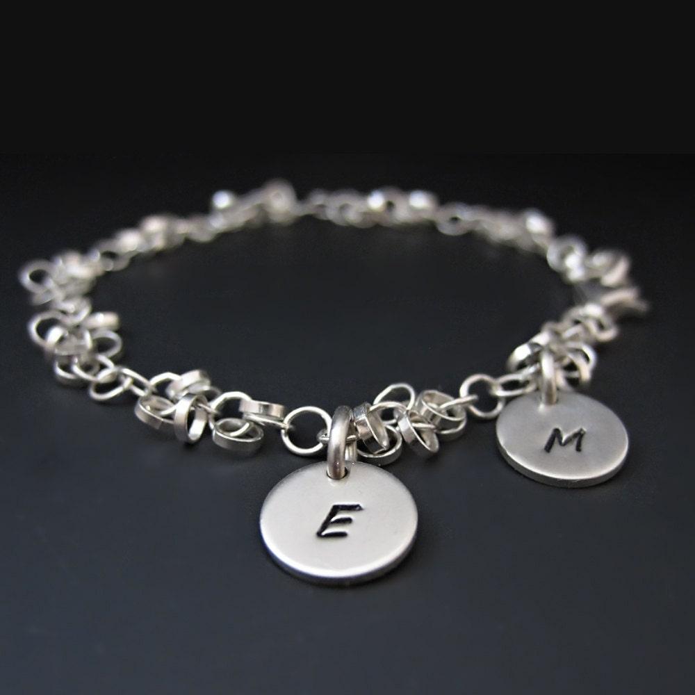 sterling silver initial charm bracelet by stringofjewels