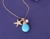 Turquoise necklaces with starfish, Bridesmaid gifts, white pearl, gold fill, wire wrapped, bridesmaid jewelry, initial charms