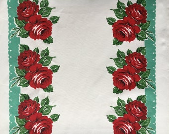 "Moda Retro KitchenToweling, 16"" wide, RODEO ROSE, finished edge; sold by the yard"