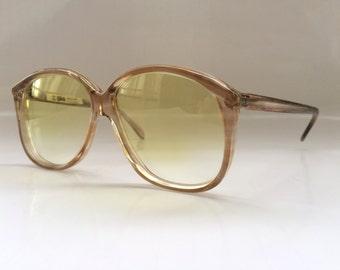 30% OFF SALE 80s Vintage German Köln Optik Stripe Pattern Eyeglasses in Metallic Brown and Transparent