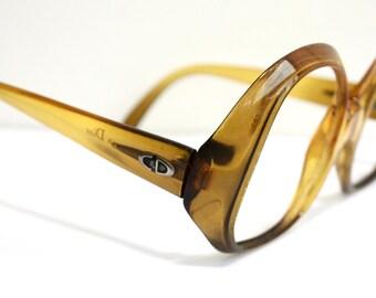 1970s DIOR Eyeglasses // 70s 80s Vintage Designer Frames // Large Lens // Christian Dior