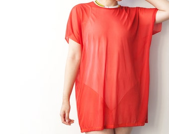 Orange Mesh Box Tee Beach Cover Festival Wear 2 Available