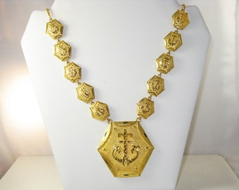 Vintage Long Gold Tone Nautical Anchor Necklace (N-3-4)