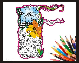 """Letter """"F"""" Lilly style alphabet  Adult coloring page"""