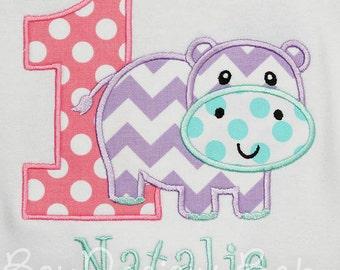 Custom Personalized Hippo Birthday Shirt, Hippopotamus Birthday T-Shirt or Bodysuit, Boy or Girl, You Pick the Colors, Any Age