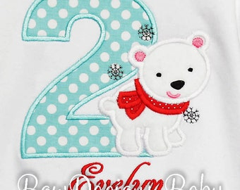 Polar Bear Birthday Shirt, Girls Polar Bear Birthday Shirt, Custom, You Pick Fabrics and Font, Boys Polar Bear Birthday Shirt or Bodysuit