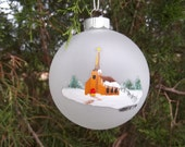 """4"""" Glass Ornament/Handpainted """"Church w/ Steeple and fence"""""""