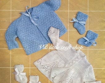 Matinee coat and booties knitting pattern. Instant PDF download!