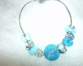 Bright Sky Blue Beaded Bracelet