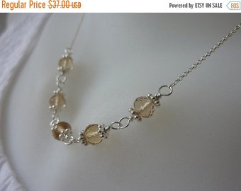 10% sale, Necklace, AAA lux champagne citrine gemstones,sterling silver,artisan quality,fine jewelry,strand design,wire wrapped,statement