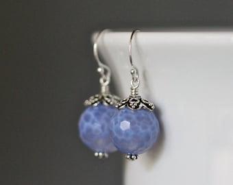 Agate Earrings - Bali Silver Earrings - Silver Dangle Earrings - Blue Agate Earrings - Silver Wire Wrapped Earrings - Blue Gemstone Earrings
