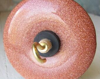 Brown Goldstone Stone Drop Spindle 1.02 ounces 29 grams Poplar Shaft