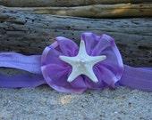 Baby Infant Starfish Headband, LAVENDER MERMAID,Beach Weddings,Nautical Headband,Mermaid Party,Infant Mermaid Photo Prop,Starfish Hair