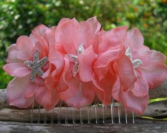 Starfish Hair Comb,Beach Bride,Starfish Hair Piece,Mermaid Hair Comb,Destination Wedding,Beach Wedding,Coral Hair Comb,Floral Hair Comb