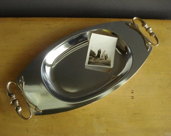 Vintage Stainless Kromex Serving Tray with Brass or Gold-toned Handles