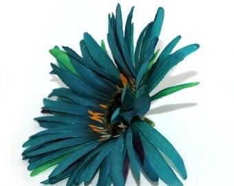 Wild Teal Gerbera Daisy - Artificial Flowers, Silk Flower Heads - PRE-ORDER
