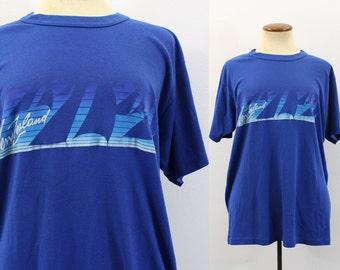 Vintage 80s New Zealand T Shirt Tourist Souvenir Tee Blue Old Worn 1980s Tshirt Travel Retro Vacation Sailing Distressed Medium M Large L