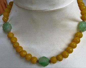 Antique Chinese Jade Shou Longevity Beads Necklace