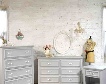 Painted Cottage Chic Bedroom Set Includes Dresser Tall Chest and Night Table