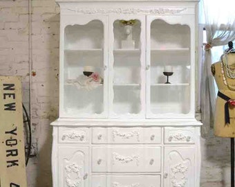 Painted Cottage Chic Shabby White Romantic French China Cabinet CC657
