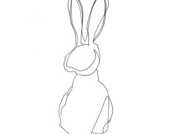 minimalist ink print: Rabbit Rabbit