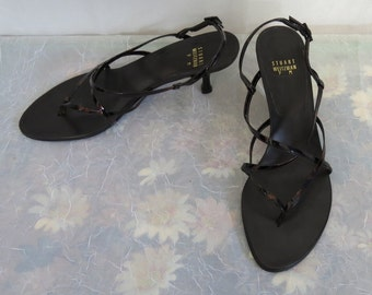 Stuart Weitzman Black leather T straps with Tortoise patent leather straps 9 M