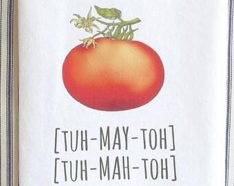 Tomato pronunciation tea towel, floursack towel, color white, dish towel