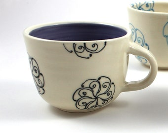 Small Coffee Mug with Black Spirals - Periwinkle Blue and White