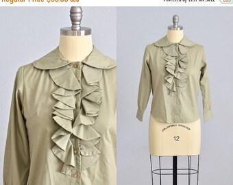 vintage 1960s shirt • 60s ruffle ascot shirt • 1960s green blouse