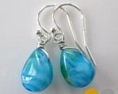 Bright Blue Green Glass Teardrop Earrings- Gold Blue Glass Earrings- Small Silver Blue Glass Earrings- EGS-GL1
