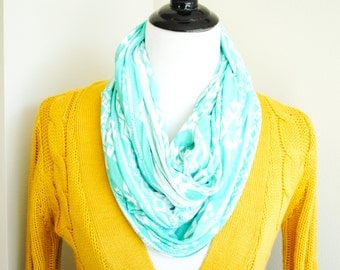 Aztec Print Turquoise Jersey Knit Scarf - Bohemian Scarf -  Circle Scarf, Crowl Scarf, Jersey Knit Scarf