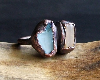 Raw Natural Crystal Ring Rough Stone Jewelry Copper Topaz Ring Aquamarine Copper Gemstone Size 6 Birthstone Organic Ring