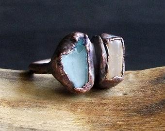 Raw Natural Crystal Ring Rough Stone Jewelry Copper Topaz Ring Aquamarine Copper Gemstone Size 6 Birthstone Organic Ring