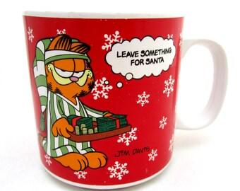 "GARFIELD Christmas Mug 1978 Enesco Mug Tip # 1 ""Leave Something for Santa"" Jim Davis"