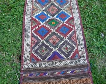 SALE:  5 ft 1 x 2 ft Afghan Gazi  hand woven flatweave Runner/Rug/Kilim/Tapis  154 x 60 cm