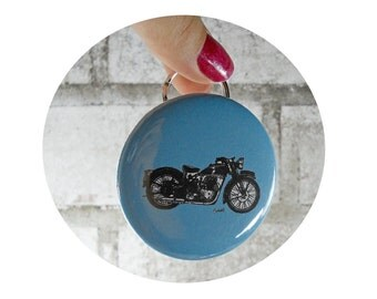 Triumph Motorcycle Bottle Opener Keychain, Key-Chain, black on blue or custom colors, Great stocking stuffer
